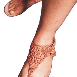 Ladies Brown Crochet Sandals