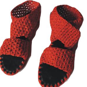 Ladies Red Sandals Crochet