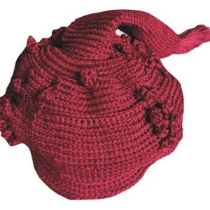 Dark Red Chieftaincy Crochet Cap
